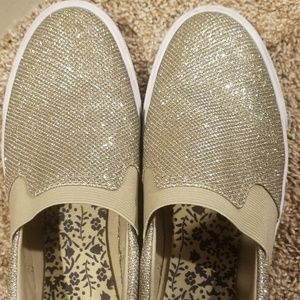 Gold GbyGuess slip on shoes